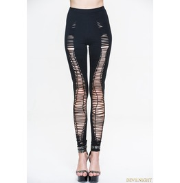 Black Gothic Hole Legging For Women Pt044