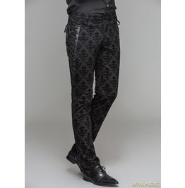Black Gothic Vintage Palace Pattern Trousers For Men Pt042