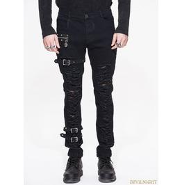 Black Gothic Punk Buckle Blet Trousers For Men Pt040