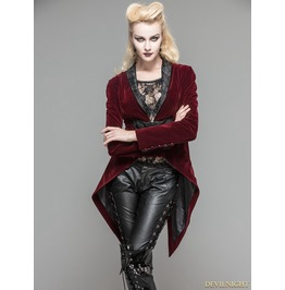 Wine Red Velvet Gothic Swallow Tail Jacket For Women Ct05302