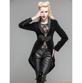 Black Velvet Gothic Swallow Tail Jacket For Women Ct05301