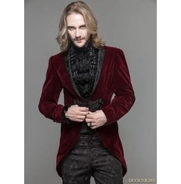 Wine Red Velvet Gothic Swallow Tail Jacket For Men Ct05202