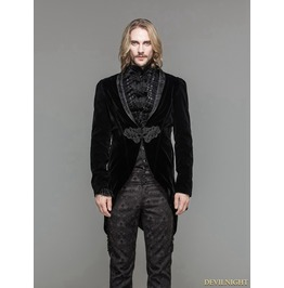 Black Velvet Gothic Swallow Tail Jacket For Men Ct05201