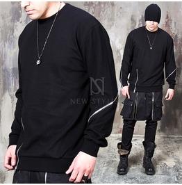 Diagonal Zippered Black Sweatshirts 646