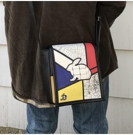 Mini, Mondrian Print, Benga Rabbit, Black Vegan Leather, Messenger Bag