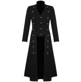 Mens steampunk military trench coat long jacket black gothic vtg halloween coats