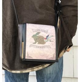 Mini, Big Benga Print, Benga Rabbit, Brown Vegan Leather, Messenger Bag