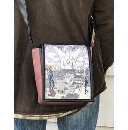 Mini, Silencio Print, Benga Rabbit, Mauve Vegan Leather Messenger Bag