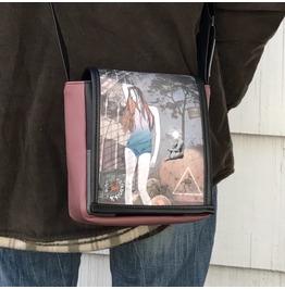 Mini, Think Print, Benga Rabbit, Mauve Vegan Leather Messenger Bag