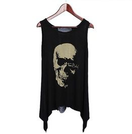 a415d84b Punk Rock Women's Black Tassel Backless Skull Print Sleeveless Top