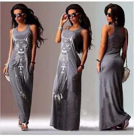 Long Dress Women Casual Cat Boho Long Maxi Beach Dress Evening