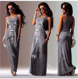 Long Dress Women Casual Cat Boho Long Maxi Beach Dress Evening