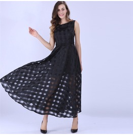 Women Maxi Dress Black Summer Plaid Women Dress New Long Dress
