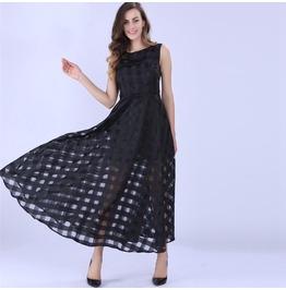 Women Maxi Dress Black Summer Plaid Women Dress New Long Dress