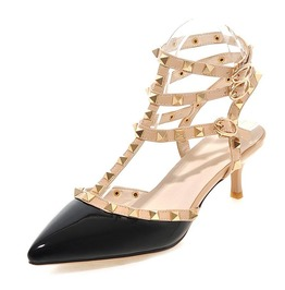 Rivets Straps High Heel Black Sandals