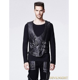 Leather Gothic Steampunk Vest For Men Y 598