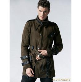 Coffee Gothic Retro Army Style Coat For Men Y 532