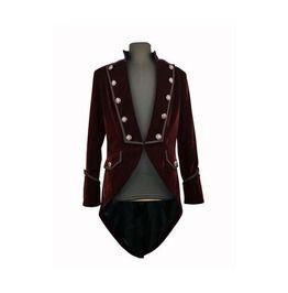 Gothic Red Wine Double Brested Coat Tuxedo Style Gothic Jacket For Men