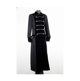 Gothic Long Black Double Breasted Gothic Cotton Velvet Mix Coat For Men