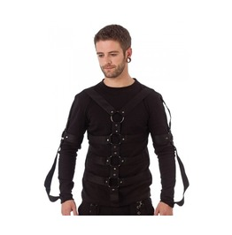 Mens Bondage Gothic Shirt D Rings Long Sleeved Punk Black Shirt