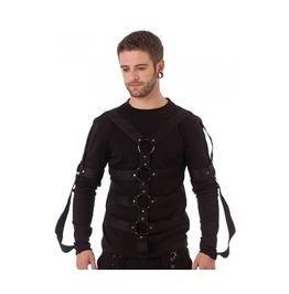 Mens Bondage Gothic Shirt D Rings Long Sleeved Punk Black Shirt