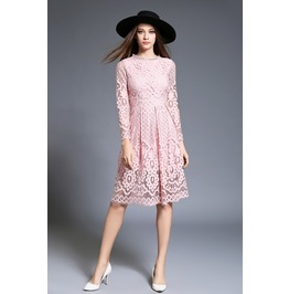 Long Sleeves Women Dress Pink / White / Black/ Red Lace Dress