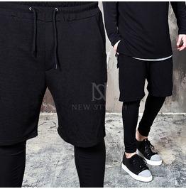 Embossed Fabric Shorts Layered Black Leggings Sweatpants 238