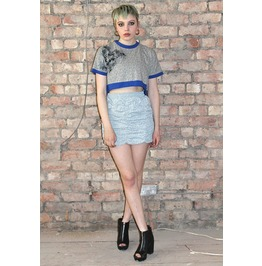 Pretty Disturbia Grey White Paisley Lace Print Gathered Mini Skirt Festival