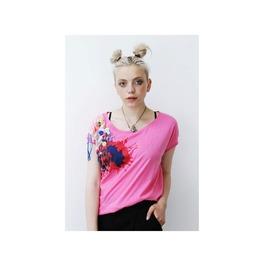 Pretty Disturbia Pink Printed Button Grunge Holiday Slouchy Boho T Shirt