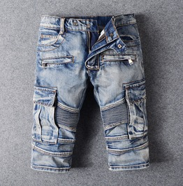 Straight Knee Length Pocket Design Medium Wash Denim Biker Shorts