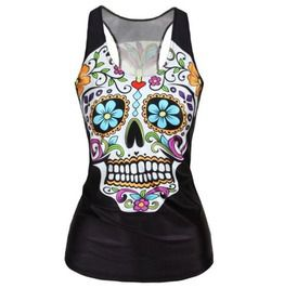 ccfca8331eea9 Punk Rock Women s Summer Sugar Skulls Day Of The Dead 3 D Printed Tank Top