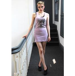 Pretty Disturbia Punk Grunge Bodycon Lilac Doll's Face Motif Mini Dress