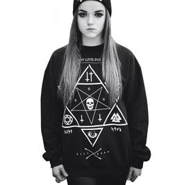 Women's Punk Rock Cotton Black Printed Sweatshirt