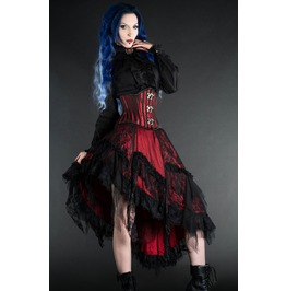 Red Black Lacy Victorian Gothic Knee Length Lace Ruffle Skirt