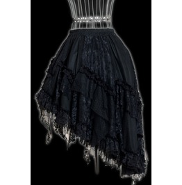 Black Lacy Victorian Gothic Knee Length Lace Steampunk Ruffle Skirt $6 Ship