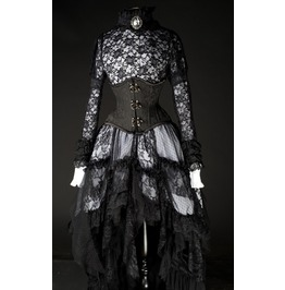Black White Victorian Goth Knee Length Lace Steampunk Ruffle Skirt