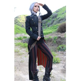 Ladies Black Civil War Military Gothic Tail Coat Army Jacket $6 To Ship