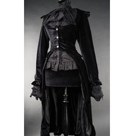 Ladies Black Velvet Victorian Vampire Skirted Black Goth Coat