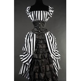 Black White Stripe Floor Length Victorian Ball Gown Corset Dress $6 To Ship