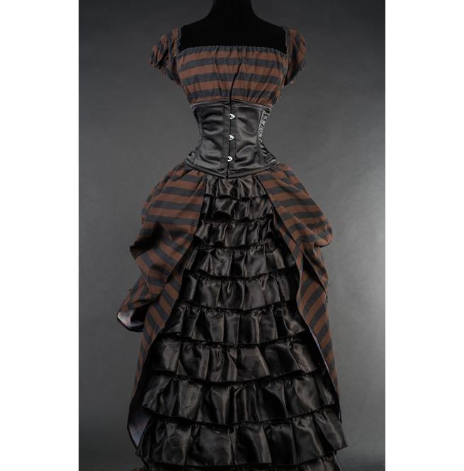 Black Brown Stripe Floor Length Steampunk Ball Gown Corset Dress