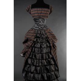 Black Brown Stripe Floor Length Steampunk Ball Gown Corset Dress Free Ship