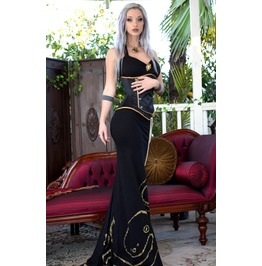 Black Octopus Print Floor Length Steampunk Ball Gown Dress $6 To Ship