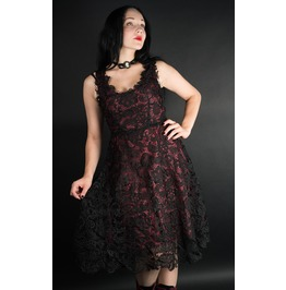 Red Black Lace Knee Length Gothic Retro Cocktail Corset Dress Free To Ship
