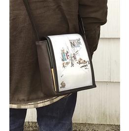 Mini, Nyc Print, Benga Rabbit, Brown Vegan Leather, Messenger Bag