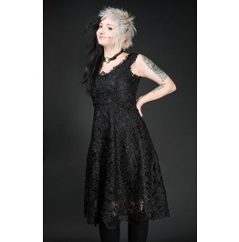 Black Lace Knee Length Gothic Retro Cocktail Corset Dress $6 To Ship