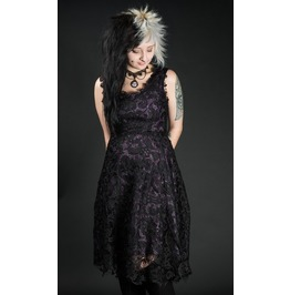 Black Purple Lace Knee Length Gothic Retro Cocktail Corset Dress $6 To Ship