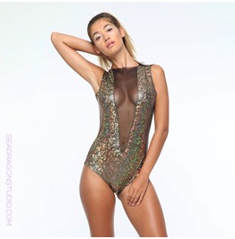 Holographic Mesh Front Festival Bodysuit ~ Sea Dragon Studio