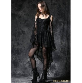 Black Off The Shoulder Long Sleeves High Low Lace Gothic Dress Dw053 Bk