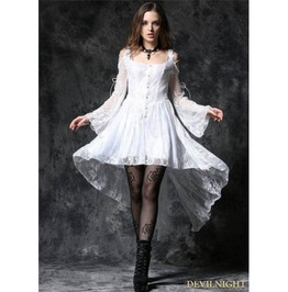 White Off The Shoulder Long Sleeves High Low Lace Gothic Dress Dw053 Wh