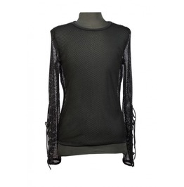 Black Net Mens Gothic T Shirt With Lace Up Sleeves T010066
